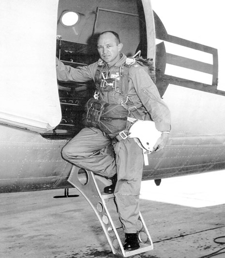 Photos of General Jim Hall in his adventures parachuting.